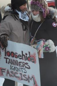 Melaw Nahkeh'ko and Stephanie Irlbacher-Fox at the IdleNoMore drum dance in Yellowknife. Photo: Amos Scott.
